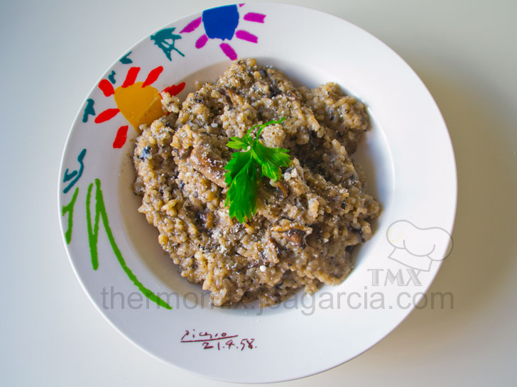 Risotto de champiñones o arroz a la milanesa