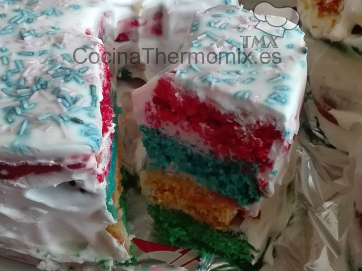 Tarta arcoiris con Thermomix