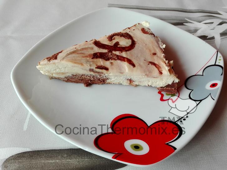 Tarta de queso marmolada sin horno con Thermomix