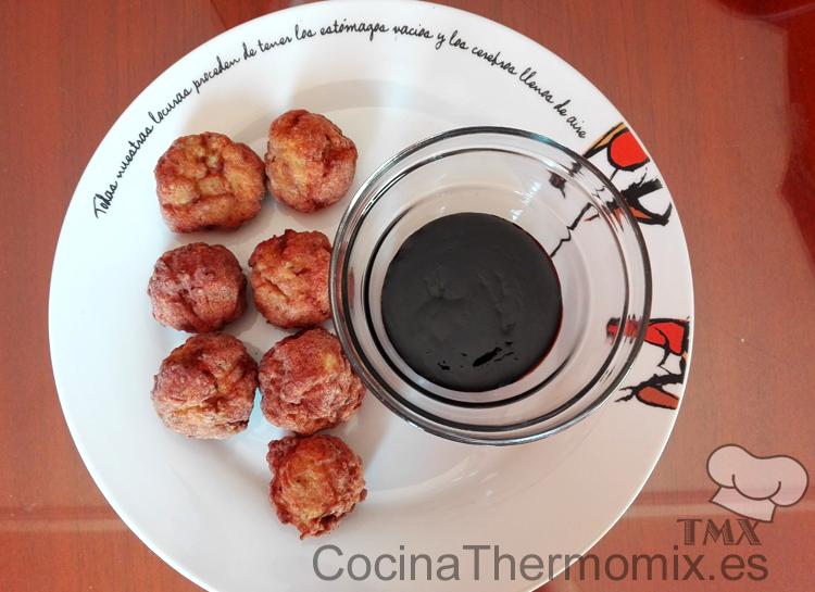 Albondigas de pollo y calabacin con salsa Teriyaki con Thermomix