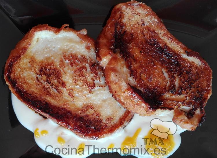 Torrijas con crema inglesa y gel de naranja con Thermomix